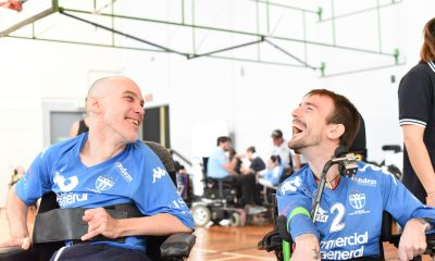 Craig Kilby (Left) smiling with South Melbourne team mates Gavin Thornycroft (Right)
